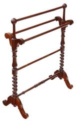 Antique fine quality Victorian C1880 mahogany towel rail stand