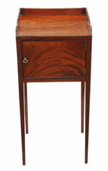 Antique Georgian C1800-20 mahogany tray top washstand bedside table