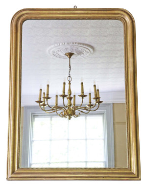 Antique quality Victorian gilt overmantle or wall mirror C1900