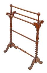 Antique quality Victorian C1880 mahogany stand towel rail