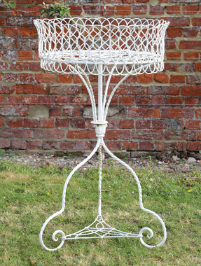 Antique quality Victorian C1900 classical orangery rotating wirework planter urn