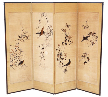 Antique large Victorian C1900 Chinoiserie birds oak framed dressing screen