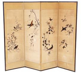 Antique large Victorian C1900 Chinoiserie birds oak framed dressing screen