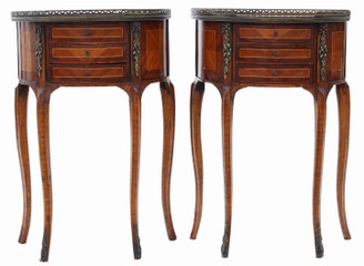 Antique quality pair of French inlaid marquetry bedside tables cupboards C1915