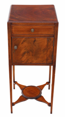 Antique Georgian C1800-20 inlaid mahogany bedside table washstand pot cupboard