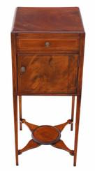 Antique Georgian C1800-20 inlaid mahogany bedside table washstand pot cupboard