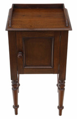 Antique mahogany bedside table cupboard cabinet pot C1900