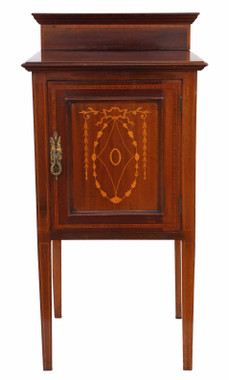 Antique quality Edwardian C1910 inlaid mahogany bedside table cupboard