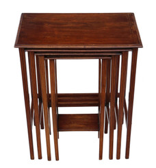 Antique quality Edwardian C1910 inlaid mahogany nest of 4 side tables