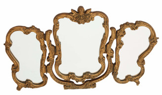 Antique gilt triple swing dressing table mirror toilet C1920