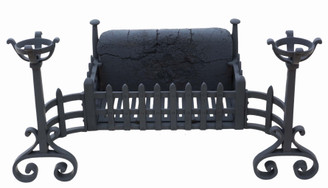 Antique style Gothic cast and forged grate with built in fire dogs