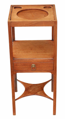 Antique quality Georgian C1800 mahogany washstand bedside table