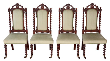 Antique quality set of 4 Victorian mahogany twist high back dining chairs C1880
