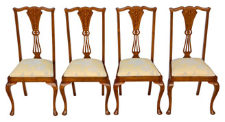 Antique set of 4 Victorian C1900 marquetry inlaid mahogany dining chairs