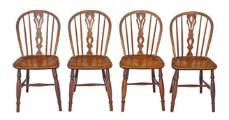 Antique set of 4 ash elm beech C1890 kitchen dining chairs Windsor
