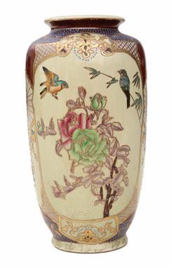 Antique large Chinese made Satsuma vase C1900-50