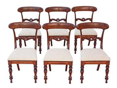 Antique fine quality set of 6 William IV mahogany rosewood dining chairs C1835