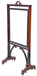 Antique quality 19C William IV Victorian rosewood cheval mirror screen needlepoint