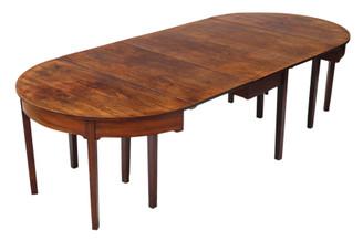 Antique large Georgian C1800 mahogany dining table ~ 4' x 9'