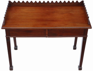 Antique quality Victorian mahogany desk, serving, writing or dressing table