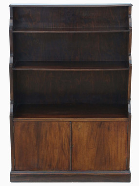 Antique quality C1920 mahogany campaign waterfall bookcase