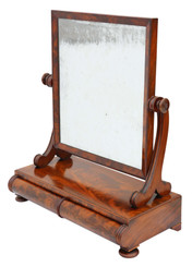 Antique quality Regency flame mahogany swing dressing table mirror toilet C1825