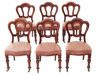 Antique set of 6 Victorian C1870 mahogany leather dining chairs