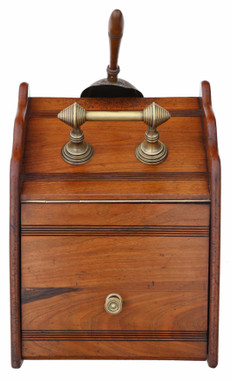Antique quality walnut coal scuttle box or cabinet C1900