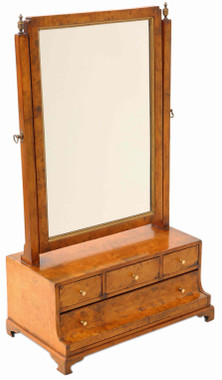 Antique quality Georgian burr walnut / maple swing dressing table mirror toilet