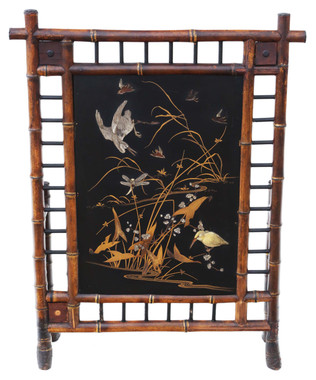 Antique Victorian C1900 bamboo decorated fire screen