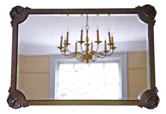 Antique quality Edwardian Mahogany overmantle or wall mirror C1910