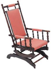 Antique 19C Victorian American walnut beech oak rocking chair