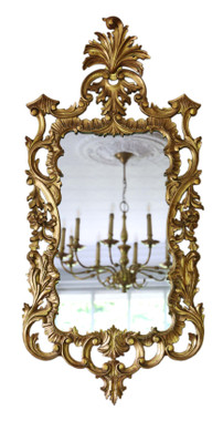Antique impressive large fine quality reproduction gilt wall mirror