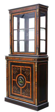 Antique fine quality amboyna and ebonised 2-part pier display cabinet Aesthetic