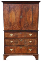 Antique Georgian C1780 figured walnut linen press kitchen housekeepers cupboard