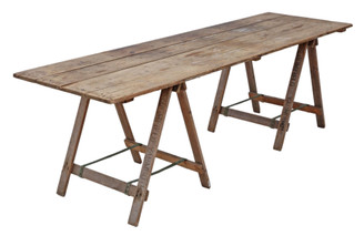 Antique vintage trestle refectory kitchen garden dining table
