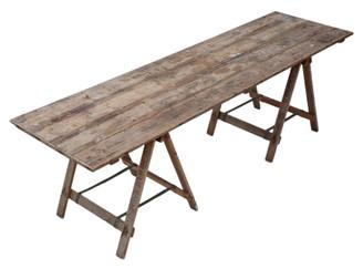 Antique vintage trestle kitchen refectory garden dining table