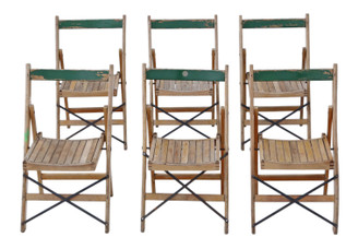 Antique retro set of 6 folding beech kitchen or garden chairs mid 20th Century