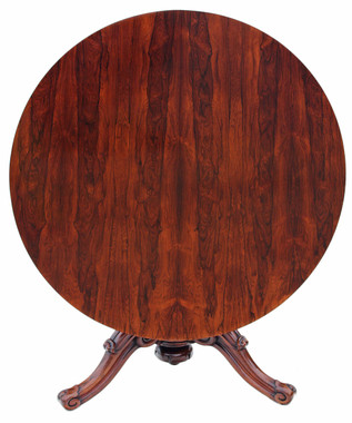 Antique fine quality Victorian 19C rosewood loo breakfast centre table tilt top