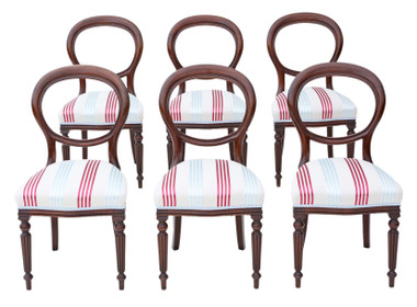 Antique fine quality set of 6 Victorian mahogany balloon back dining chairs