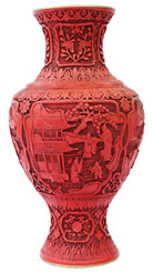 Antique large Chinese red cinnabar lacquer vase Mid-20th Century