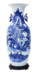 Antique very large Chinese 19th Century vase blue and white
