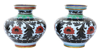 Antique large pair of mid-20th Century Chinese cloisonne vases
