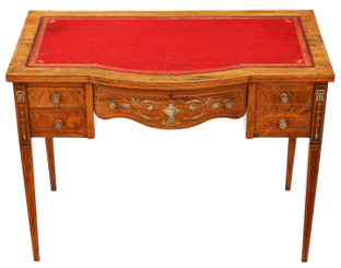 Antique fine quality small Victorian inlaid rosewood desk writing dressing table