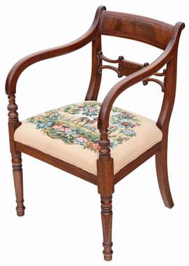 Antique fine quality Regency C1820-30 mahogany elbow desk carver chair