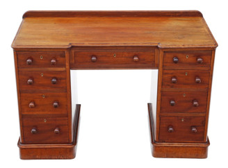 Antique quality Victorian mahogany desk writing dressing table twin pedestal