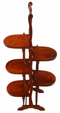 Antique quality folding in laid mahogany folding cake stand Early 20th Century
