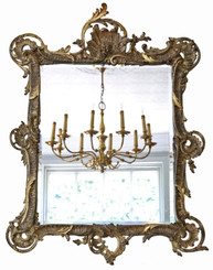 Antique large fine quality early 19th Century gilt overmantle or wall mirror