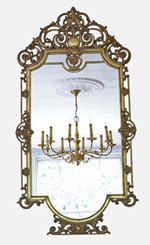 Antique large quality early 20th Century brass ormolu overmantle wall mirror