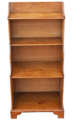 Antique 19th Century Victorian pine waterfall bookcase shelves